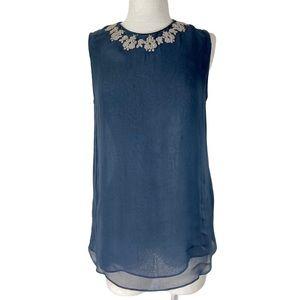 Zara Gray chiffon Sleeveless Silver Embroidery top